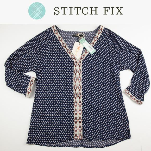 Thml Tops Nwt Franklin Embroidered Top Stitch Fix Small Poshmark